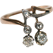 Unique Antique Pre-Revolution Russian 14 carat rose gold, silver and diamond musical note ring