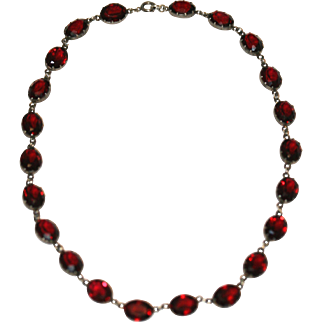 Antique Victorian sterling silver and red paste riviere necklace - circa 1900