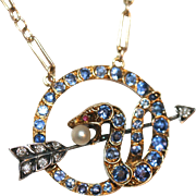 Unique and Rare Fine Antique Victorian 18 carat gold, silver, MONTANA sapphire, diamond, ruby