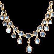 Sensational Antique Edwardian 9 carat yellow gold and moonstone festoon necklace - circa 1900