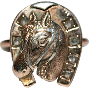 Antique Victorian 9 carat rose gold and diamond horse / lucky horseshoe conversion ring - circ