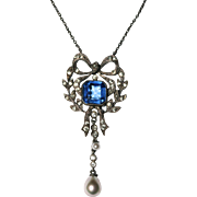 Antique Edwardian era silver, paste and imitation pearl bow pendant necklace - Austro-Hungaria