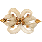Antique Victorian 18 carat yellow gold blonde hair brooch/pin - circa 1840