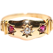 Lovely Antique Edwardian 18 carat gold diamond and ruby gypsy ring - Chester, England