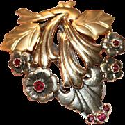 Vintage Retro 9 carat yellow and white gold ruby floral fur/dress pin - circa 1940