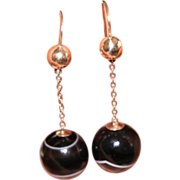 Antique Victorian 9 carat gold and banded agate bead earrings - English, circa 1870