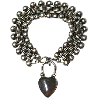 Antique Victorian Rainbow like silver agate heart padlock and silver bracelet - circa 1880
