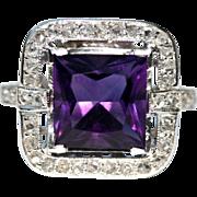 Vintage Art Deco Platinum Amethyst Rose cut Diamond Cocktail Ring