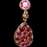 Vintage Art Deco 18 carat white gold pavé set ruby and diamond earrings - circa 1920