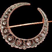 Fine Antique Victorian 18 carat gold and silver rose cut diamond moon crescent brooch - circa