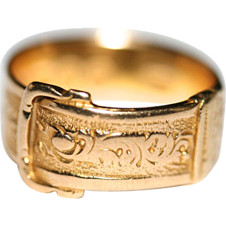 Antique Victorian 15 carat yellow gold engraved buckle/belt ring - hallmarked 1865, London, England