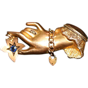 Antique Edwardian 9 carat gold, sapphire and diamond Victorian hand and gate bracelet brooch -