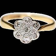 Vintage Art Deco 18 carat gold Platinum Diamond Daisy Engagement ring - circa 1925