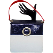Vintage Mod Red White Blue Air Step Simulated Leather Handbag Kelly Chic
