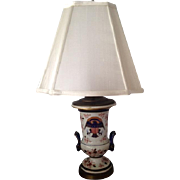 Samson Porcelain Lamp with Eagle and Hot Air Balloon on Vase with Rams Head Handles ...