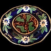 Majolica Platter with Cobalt Blue Floral Rim and Mottled Center