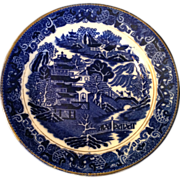 Blue Willow Plate with Dark Gold Rim