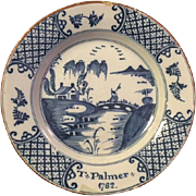 Antique English Delftware Blue and White Plate, 18th Century