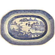 Antique Chinese Export Canton Platter, 19th Century