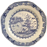 Antique Chinese Export Blue and White Plate, Eight-Sided, 18th Century.  Excellent Condition!