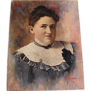 Miniature Oil Painting Portrait Signed Identified Grace Almy Ellis Young Woman Victorian