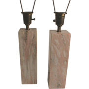 SOLD Large Pink Marble Table Lamps C.1950 Vermont Mid-Century Style Pair