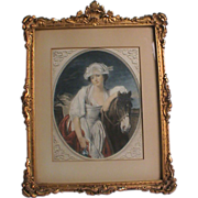 Antique Victorian Small Gold Ornate Frame - Hand Colored Print of Girl & Pony