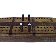 "Huge 24.5"" Vintage Inlaid Wooden Cribbage Board Oak & Walnut"