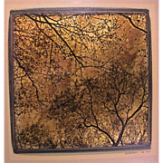 SOLD Djordje Skendzic Photograph on Gold Leaf of Trees Dated '04 NYC