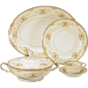 74 pcs Noritake Hibiscus China Dinnerware Service  White & Cream, Gold Trim  Pattern # 394