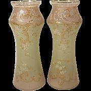 """Pair Art Nouveau  Enameled Glass Vases 10 1/2"""" Victorian"""