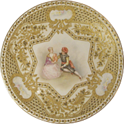 19th C. Redon Limoges E Furlaud Gold Encrusted Cabinet Plate Hand Painted Signed