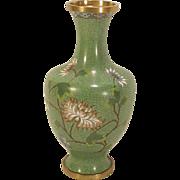 "Vintage Chinese Export Cloisonne Vase Chrysanthemum Flowers 9"""