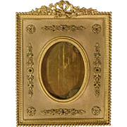 Small Bejeweled Antique Brass Miniature Painting Easel Frame