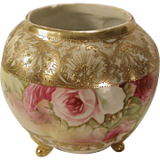Bejeweled Nippon Footed Porcelain Vase Hand Painted Roses As Is Antique
