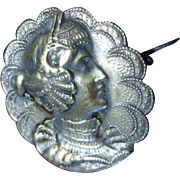 Pretty French Art Nouveau Ladies Face Silver Metal Brooch Pin C1900