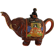 SALE 1920's Japanese Satsuma Elephant Teapot with Blackamoor Rider