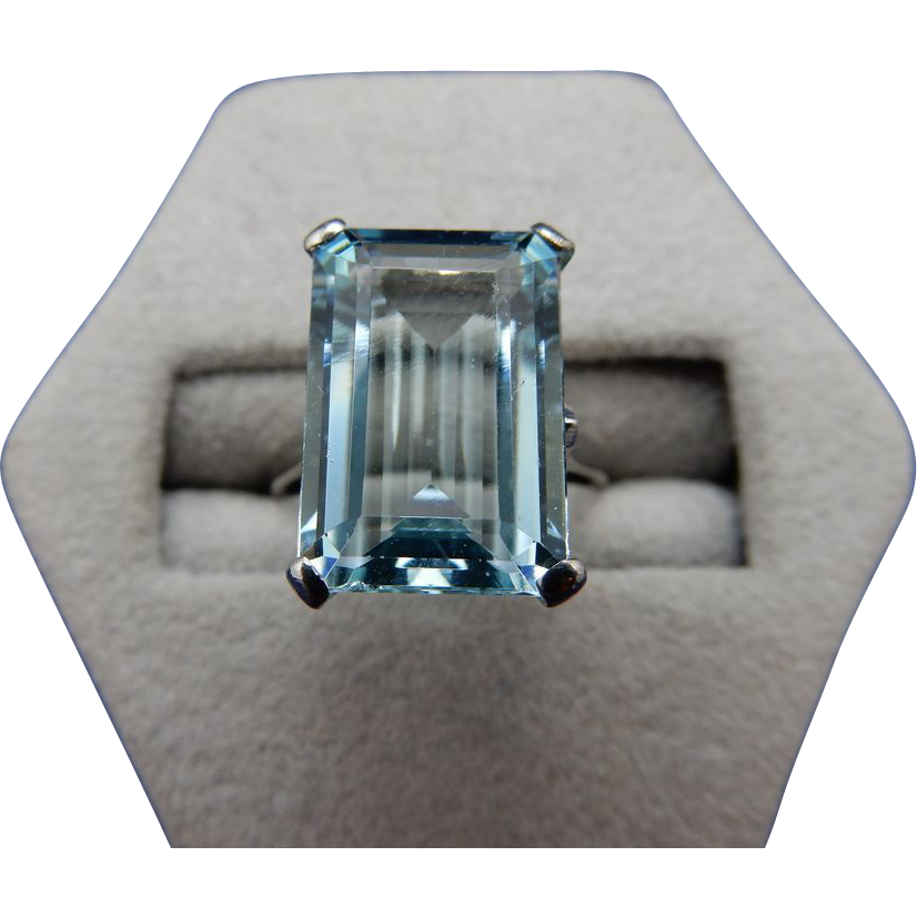 14 karat emerald cut aquamarine ring from shersbounty on