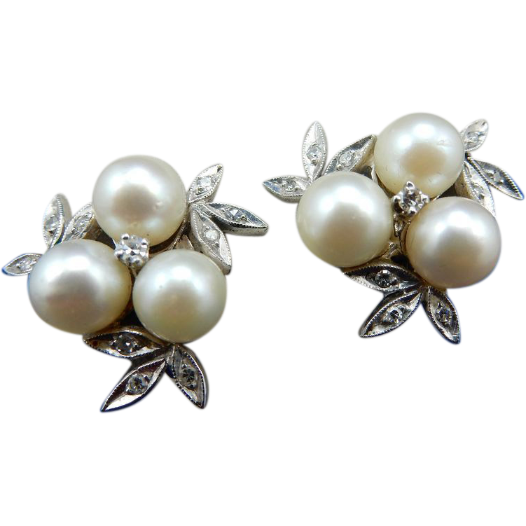 14 karat estate cluster pearl and earrings from