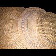 Antique Set of 3 Basket Woven Straw Grass Native American Dollhouse Miniature Rug Mats