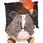 1920's German Straw Stuffed Glass Eyed Teddy with Outfit