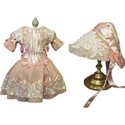 """SALE Sale ~ Silk Pink Doll Dress with Bonnet for 24-27"""" Antique French Bebe ..."""