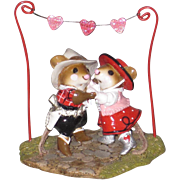 Wee Forest Folk M-312a Limited Edition Valentine Hoe Down has mice square dancing