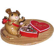 Wee Forest Folk M-477 Valentine Sampler mouse eating box of chocolates