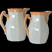 SALE Villeroy Boch Schramberg, pair of ceramic pitchers, circa 1890.
