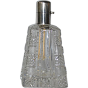 SALE Cut glass fragrance lamp/ Lampe Berger with silver cap.