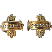 SALE A Tiffany & Co. 18k yellow gold and diamond earrings, 20th century.