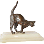 SALE Viennese patinated bronze cat.