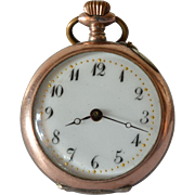 SALE Open face, silver and 12k gold pocket watch, unsigned, Swiss made watch with case ...