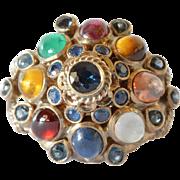 SALE Multi coloured , gold 18k ,cabochon and cut semi and precious gem set Princess ring ...